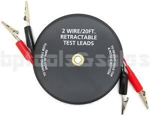 2 Wire 20 ft Retractable Test Leads 18 Gauge Alligator Clips In Reel