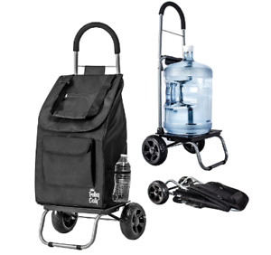 Foldable Shopping Trolley Grocery Multipurpose Weatherproof Cart 2 Wheels Black