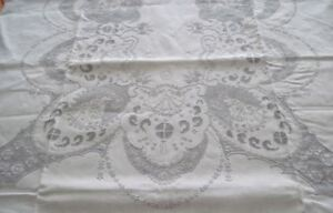 Embroidered Appenzell Tablecloth 12 Napkins Figural Cherub Peacocks 138 Cutwork