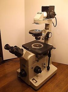 Nikon Diaphot Inverted Phase Contrast Microscope With Objectives Trinocular