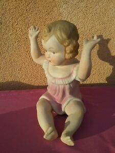 Vintage Victorian Piano Baby 7 25 Antique Bisque Porcelain Doll Art Noveau