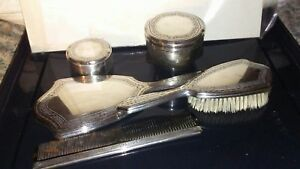 Lot Of 5 Tiffany Sterling Silver Comb Brush Mirror Two Jars 1940 S Vgc