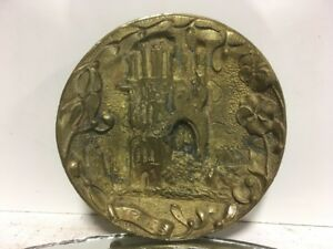 Antique Victorian Lvs French Bronze Foundary Brass Ypres Pin Ash Card Tray