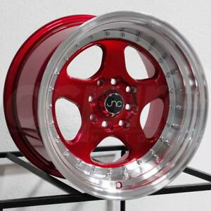 16x8 Jnc 010 Jnc010 4x100 4x114 3 25 Candy Red Machine Lip Wheel Rims Set 4
