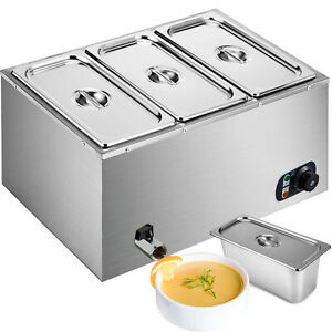 3 pan Food Warmer Steam Table Steamer Heavy Gauge Pans Hot Well Electric 850w