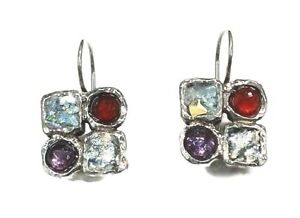 Roman Glass Silver Earrings 925 Ancient Fragment 200 B C Patina Israel Sterling