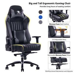 Killabee Big And Tall 400lb Memory Foam Gaming Chair Adjustable Tilt Gray