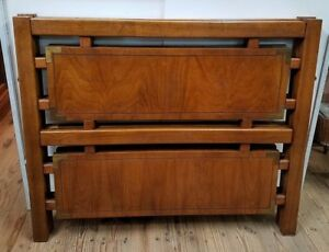 Mid Century Twin Hardwood Quarter Sawn Exotic Wood Panels Headboards Pair
