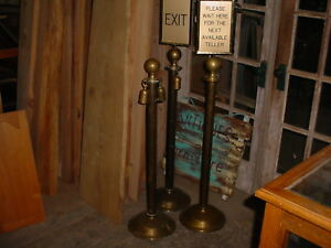 3 Vintage Brass Free Standing Crowd Control Stanchions 4 Pcs Rope Hooks