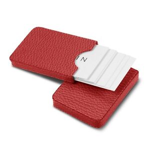 Lucrin Sliding Case For Business Cards Red Granulated Leather New