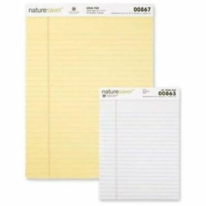 Nature Saver 100 Recycled Canary Legal Ruled Pads 50 Sheet 15 Lb