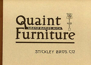 1912 Stickley Brothers Quaint Furniture Catalog New Direct From Publisher