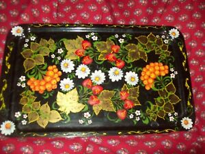 Rare Antique Vintage Tole Tin Toleware Tray Hand Painted Heavy Gold Unusual