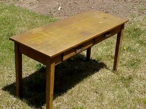 Arts Crafts Mission Oak 2 Drw 2 Station Work Table Milton Bradley Kindergarten