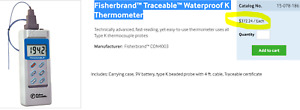 328 2 372 f Thermocouple Thermometer Traceable Type K Waterproof d1b6