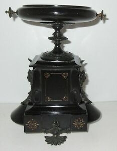 French Empire Bronze Goddess 19c Black Marble Tazza Bowl Vase Clock Garniture