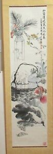 Huge Chinese Original Watercolor Scroll Fruit Basket Painting Signed