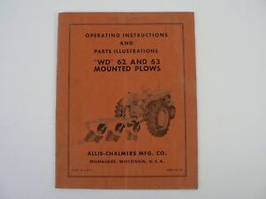 Vtg Allis Chalmers Wd 62 63 Mounted Plows Owners Manual Parts Diagram List 1959
