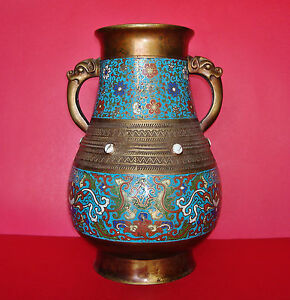 Large Chinese Qing Dynasty Bronze Cloisonne Hu Form Jar With Stone Insets