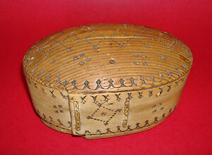 19th Century Hand Etched Decorated Lidded Wooden Bride S Box