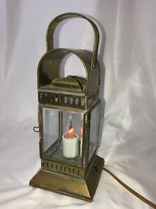 Vtg Brass Electrified Ships Lamp Oil Kerosene Lantern W Handle Nautical Marine