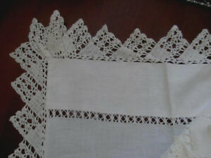 Antique Flat Sheet Hand Crocheted Lace Trim Drawnwork Panel White Cotton 90 W