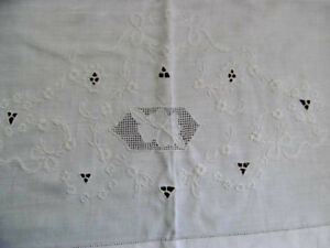 Antique Flat Sheet Hand Embroidered Cutwork Drawnwork Flowers Bows Soft Cotton
