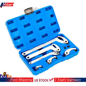 6pc Adjustable Hook And Pin Wrench Spanner Tool Set With Blue Carrying Case Us