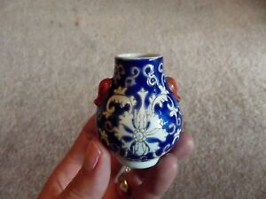 Miniature 2 Vase Chinese Porcelain Famille Rose Blue Ground White Qing China