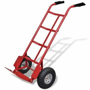 Heavy Duty Steel Frame Hand Cart Truck Load Capacity 400lbs Red Foldable
