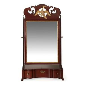 American Chippendale Giltwood Glass Mahogany Antique Dressing Mirror C 1790