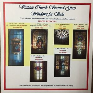 Vintage Stained Glass Windows From Church 115 H X 42 W Price Reduced 250 00