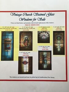 Vintage Stained Glass Windows From Church 73 H X 33 W Price Reduced 250 00
