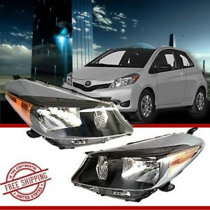 Fits 2012 2014 Toyota Yaris Hatchback Black Headlights Set