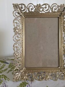 Ornate Vintage Gold Filagree Picture Frame Lacy Metal 9 Tall Easel Back W Glass