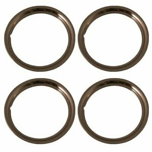 Set Of 4 New Chrome Plated Steel 16 Inch Beauty Trim Rings With Metal