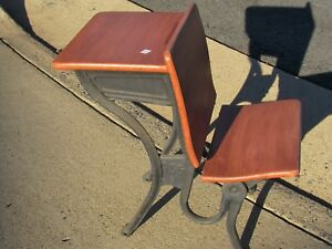 Offer Antique Child School Desk With Folding Seat Will Ship Kdf Refinished