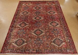 Persian Karajeh Tribal Hand Knotted Wool Red Navy Oriental Rug Carpet 10 X 13