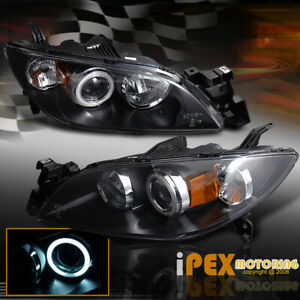 2004 2007 Mazda 3 Sedan Black 2 X Ccfl Halo Projector Head Light Lamps Pair