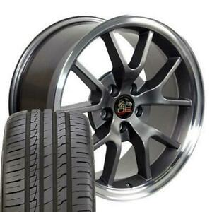18x9 Wheels tires Fits Ford Mustang Fr500 Style Anthracite Rim W Ironman Cp