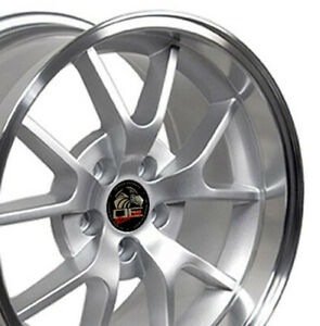 18x9 18x10 Silver Fr500 Style Wheels Set Of 4 Rims Fit 94 04 Mustang Cp
