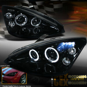 2000 2004 Ford Focus Dual Halo Projector Led Headlights In Shiny Black