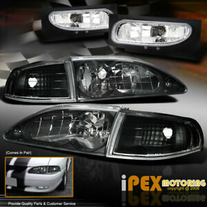 1994 1998 Ford Mustang Gt Coupe Black Headlights Corner Signals Fog Lights