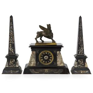 French Egyptian Revival Three Piece Antique Marble Clock W Obelisk Set C 1880