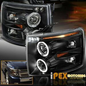 2007 2014 Chevy Silverado 1500 2500hd 3500 Halo Projector Black Led Headlights