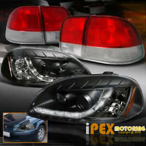 Upgrade Now Led Black Projector Head Light Tail Lamp For 96 98 Honda Civic 4dr