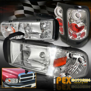 1994 2001 Dodge Ram 1500 2500 3500 Chrome Led Headlights Euro Tail Light 4pc
