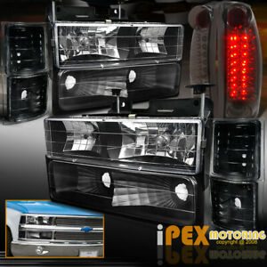 1994 1998 Chevy Suburban Tahoe Black Headlight W Signals Led Smoke Tail Light