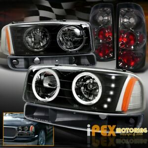 Gmc 04 05 06 Sierra Halo Led Black Headlights Smoke Tail Light Signal Lamp