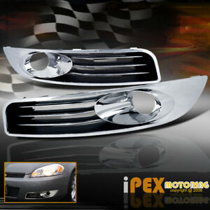 2006 2012 Chevy Impala Chrome Front Bumper Fog Light Driving Lamp Trim Cover